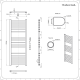 Radiador Toallero Eléctrico Plano - Cromado - 1200mm x 600mm - Eco