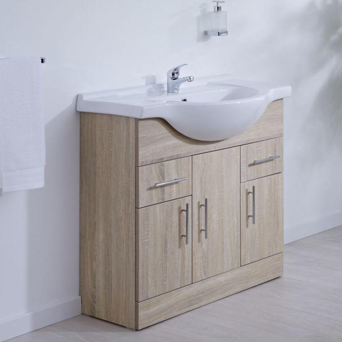 Mueble de Lavabo Efecto Roble 85x78x48cm