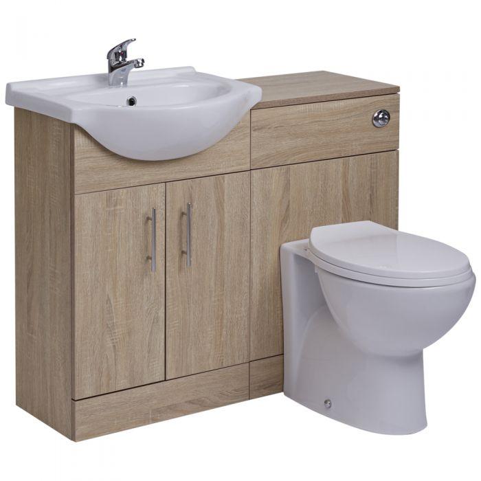 Mueble de Lavabo de MDF Efecto Roble con 2 Puertas e Inodoro Integrado 51x78x30cm