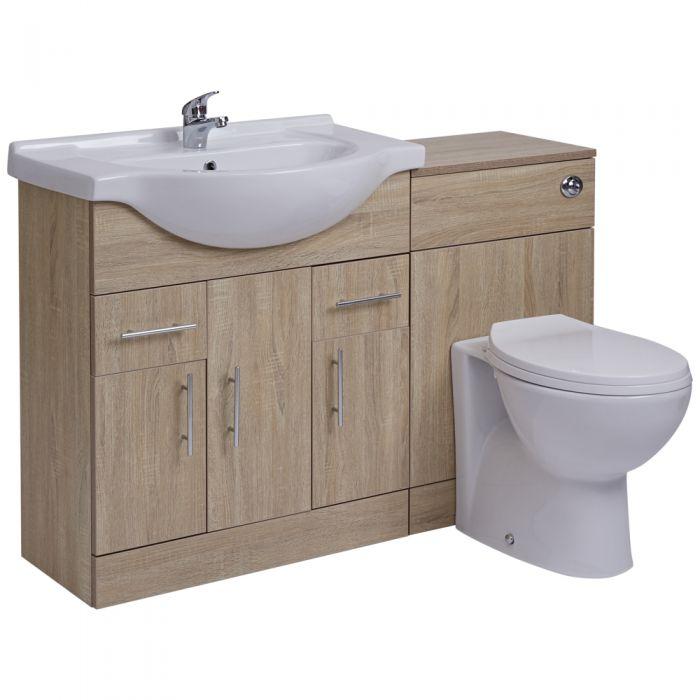 Mueble de Lavabo de 3 Puertas Efecto Roble con Inodoro Integrado 75x78x48cm