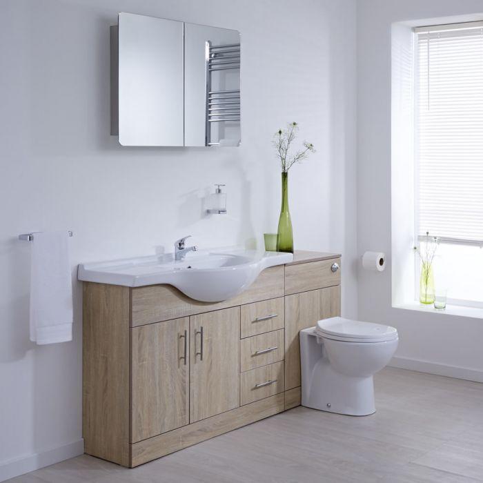 Mueble de Lavabo de 2 Puertas y 3 Cajones Efecto Roble con Inodoro  Integrado 106x78x48cm para Cuarto de Baño