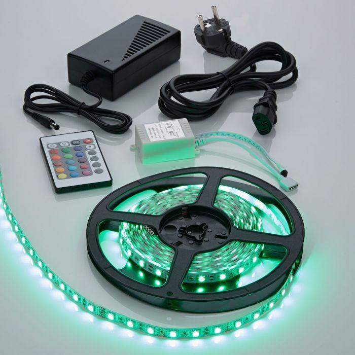 Biard Tira de Luces LED 5050 RGB 5 Metros Blanco Brillante con RGB Rojo Verde y Azul