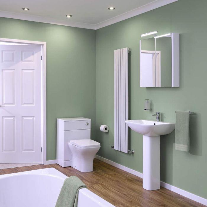 Conjunto de Baño Completo con Inodoro WC, Cisterna Integrada, Tapa, Bañera y Lavabo