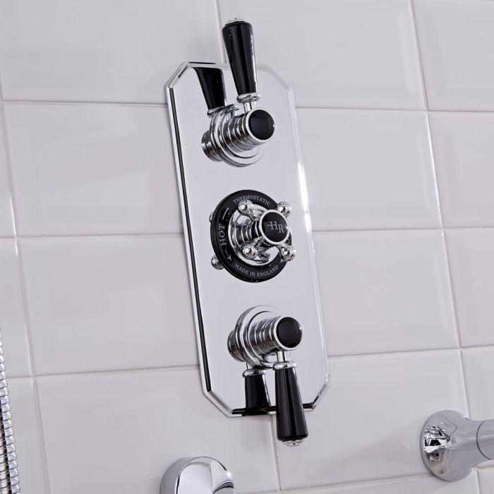 Mezclador de Ducha Termostático Empotrable Tradicional de Dos Funciones  con Embellecedores de Color Negro- Topaz