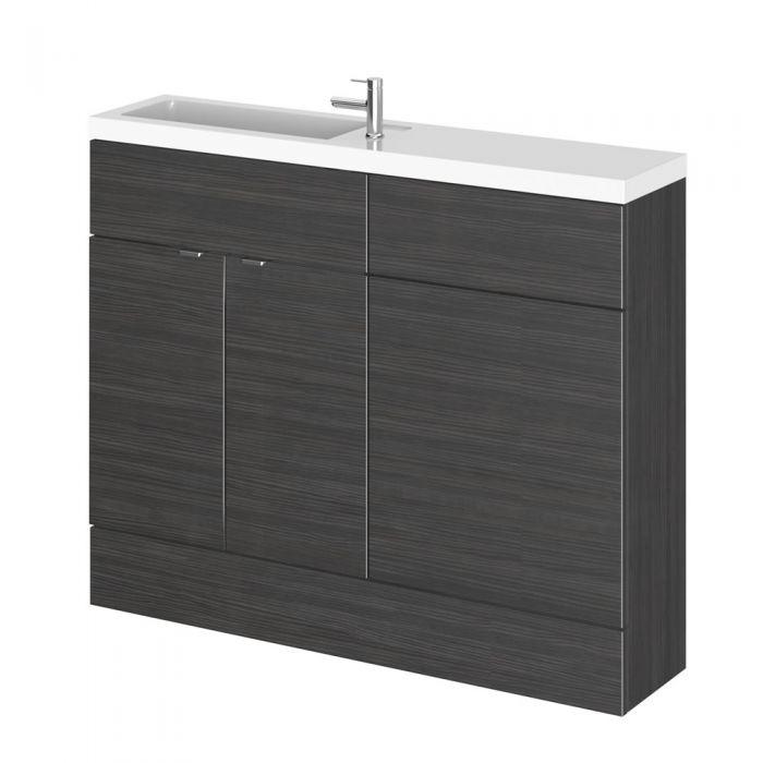 Mueble de Lavabo con Sección para WC Realizado de MDF con Acabado Negro 1100mm