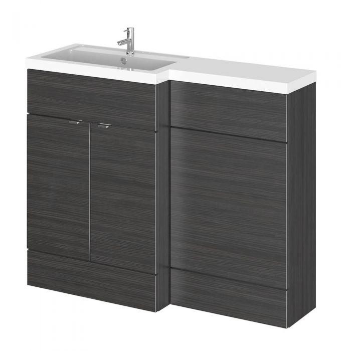 Mueble de Lavabo y WC Negro de 1100mm Versión Izquierda