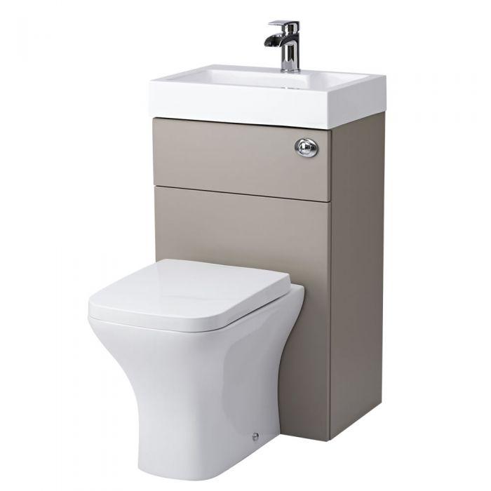 Conjunto de ba o color gris piedra completo con inodoro y lavabo - Inodoro y lavabo en uno ...
