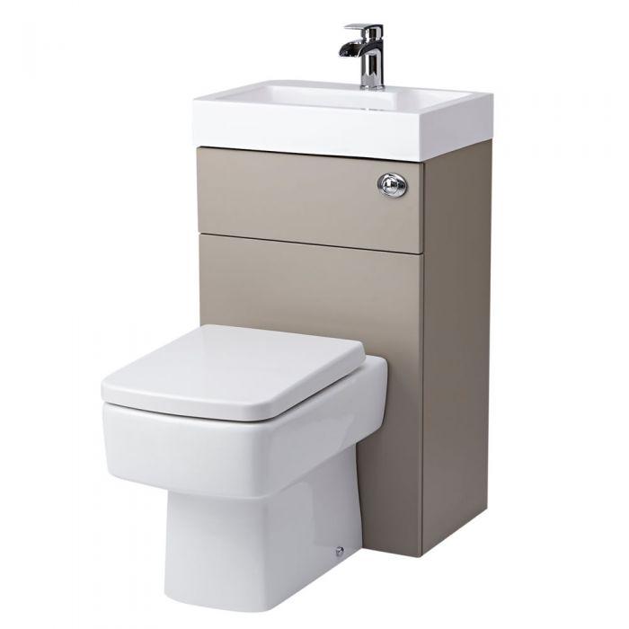 Conjunto con Lavabo e Inodoro Ahorra Espacio de Color Piedra