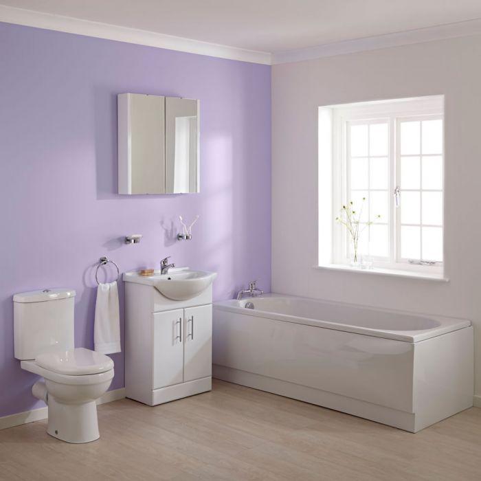 Conjunto de Baño Completo con Mueble de Lavabo, Bañera y WC con Cisterna