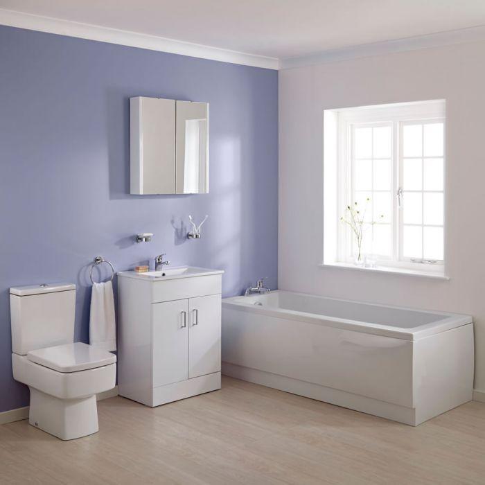 Conjunto de Baño Completo con Mueble de Lavabo, Bañera y WC