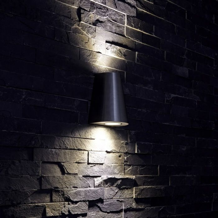 Apliqué de Pared Exterior con Luz Descendiente Diseño Cónico Plateado