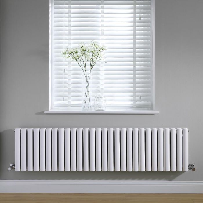 Radiador de Diseño Horizontal Doble - Blanco - 400mm x 1647mm x 78mm - 1929 Vatios - Revive