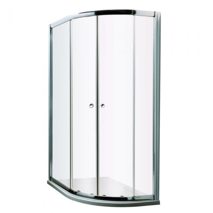 Mampara de Ducha Angular Fija de Vidrio con Apertura Frontal Corredera 1200mmx1950mm