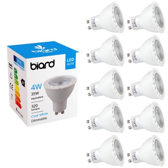 Biard 10x Focos Spot LED GU10 de Techo 4W con Intensidad Luminosa Regulable