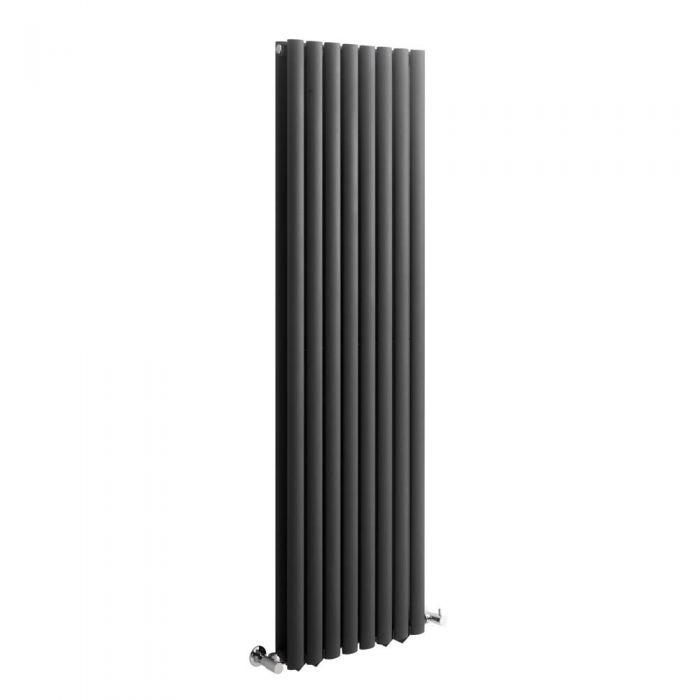 Radiador de Diseño Vertical Doble - Antracita - 1600mm x 472mm x 78mm - 1638 Vatios - Revive