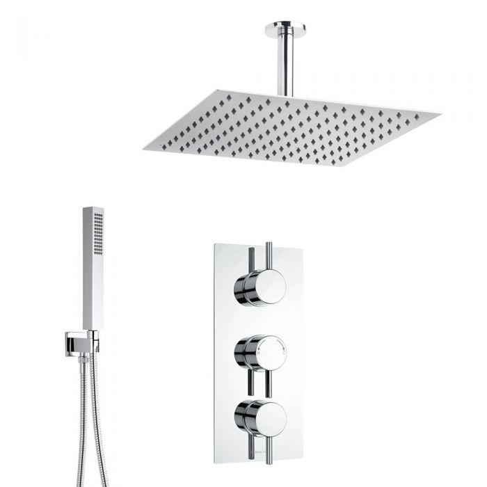 Conjunto de ducha con Llave Mezcladora Termostática, Alcachofa y Telefonillo