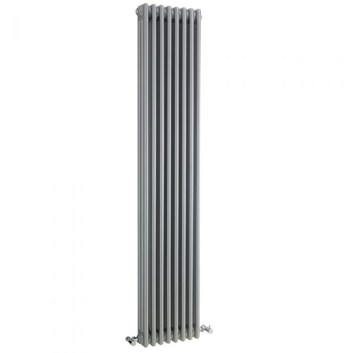 Radiador de Diseño Vertical Triple Tradicional - Plateado - 1800mm x 381mm x 100mm - 1558 Vatios - Regent