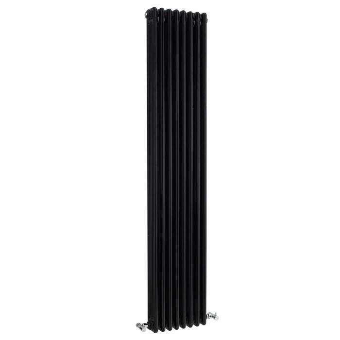 Radiador de Diseño Vertical Triple Tradicional - Negro - 1800mm x 381mm x 100mm - 2411 Vatios - Regent