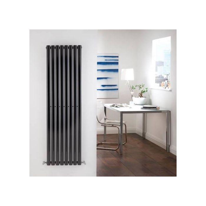 Radiador de Diseño Vertical - Negro Lúcido - 1600mm x 472mm x 56mm - 1121 Vatios - Revive
