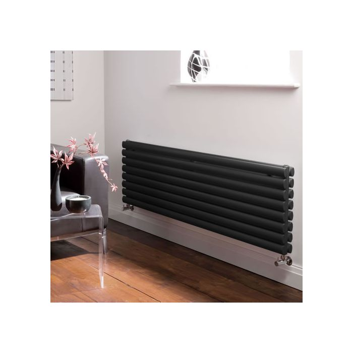 Radiador de Diseño Horizontal Doble - Negro Lúcido - 472mm x 1600mm x 78mm - 1611 Vatios - Revive