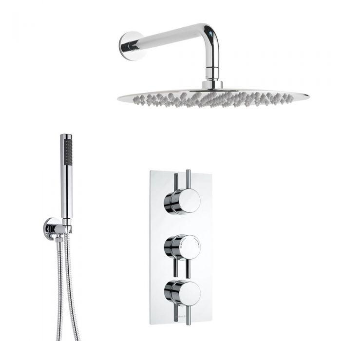 Conjunto de ducha Termostática Triple con Alcachofa, Ducha de Mano, Soporte y Brazo