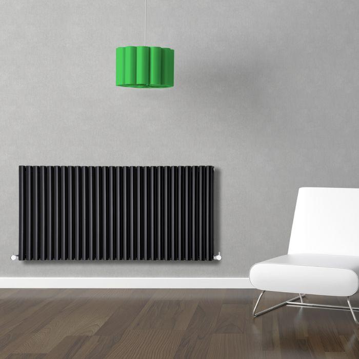 Radiador de Diseño Horizontal Doble - Negro - 635mm x 1647mm x 78mm - 2608 Vatios - Revive