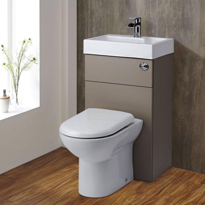 Mueble de Baño Completo con WC de Cerámica y Lavabo Integrado Color Gris Hormigón