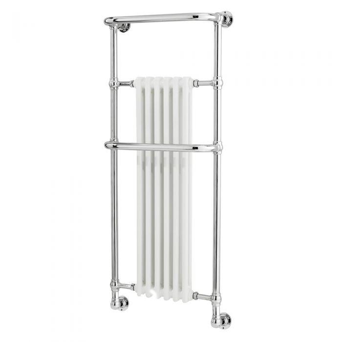 Radiador Toallero Tradicional - Cromado y Blanco - 1365mm x 575mm x 235mm - 789 Vatios - Brampton