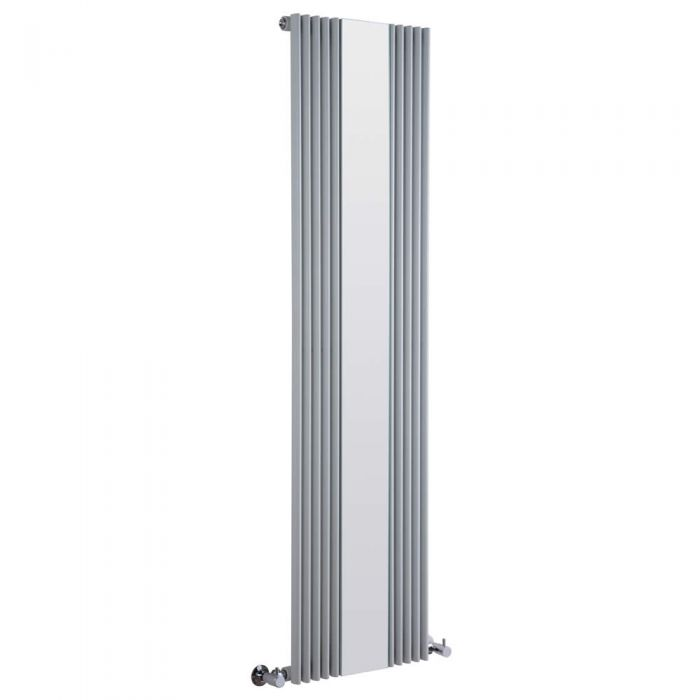 Radiador de Diseño Vertical Con Espejo - Plateado - 1600mm x 420mm x 63mm - 840 Vatios - Keida