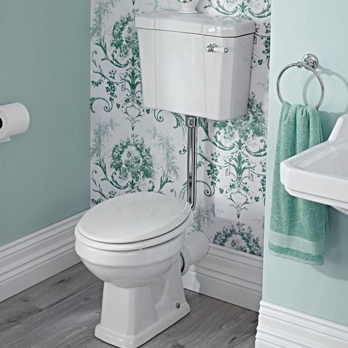Inodoro WC Tradicional con Salida Horizontal, Cisterna y Tapa