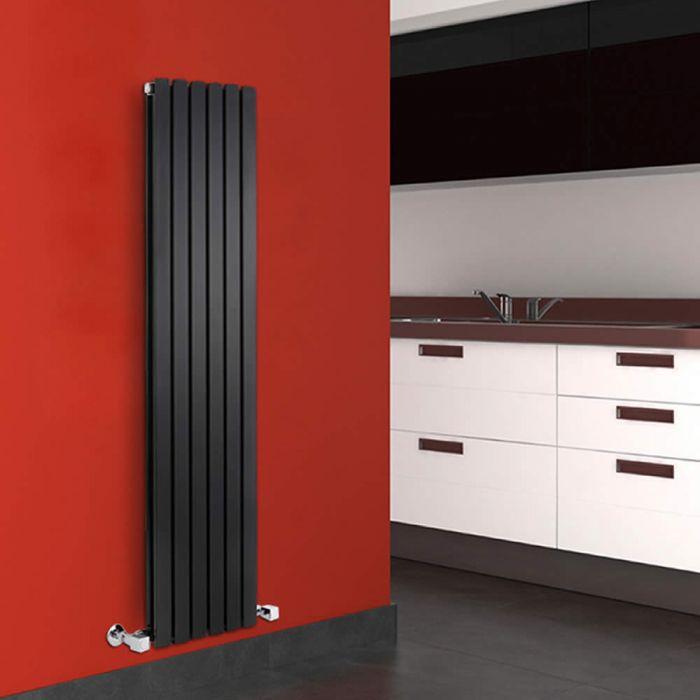 Radiador de Diseño Vertical Doble - Negro Lúcido - 1600mm x 354mm x 72mm - 1193 Vatios - Sloane