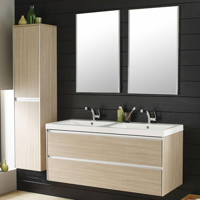 Conjunto de Mueble para Baño Suspendidos con Mueble de Lavabo 80x48x55cm y Armario Suspendido