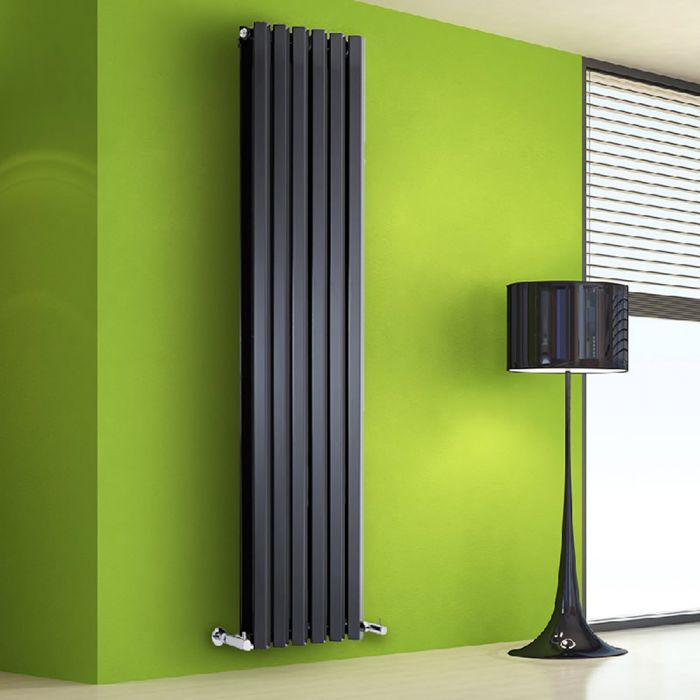 Radiador de Diseño Vertical Doble - Negro Lúcido - 1780mm x 420mm x 86mm - 1618 Vatios - Rombo