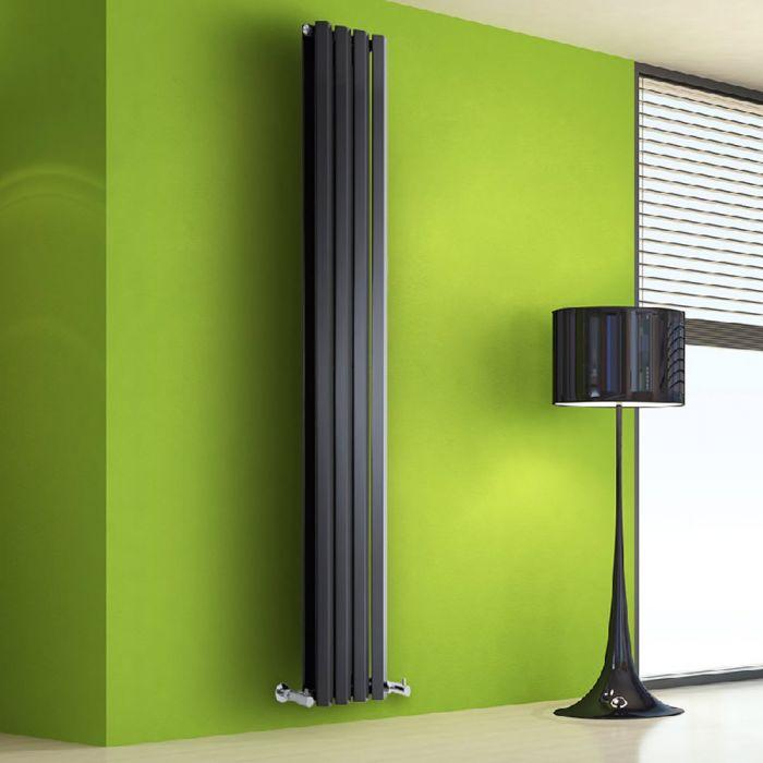 Radiador de Diseño Vertical Doble - Negro Lúcido - 1780mm x 280mm x 86mm - 1079 Vatios - Rombo