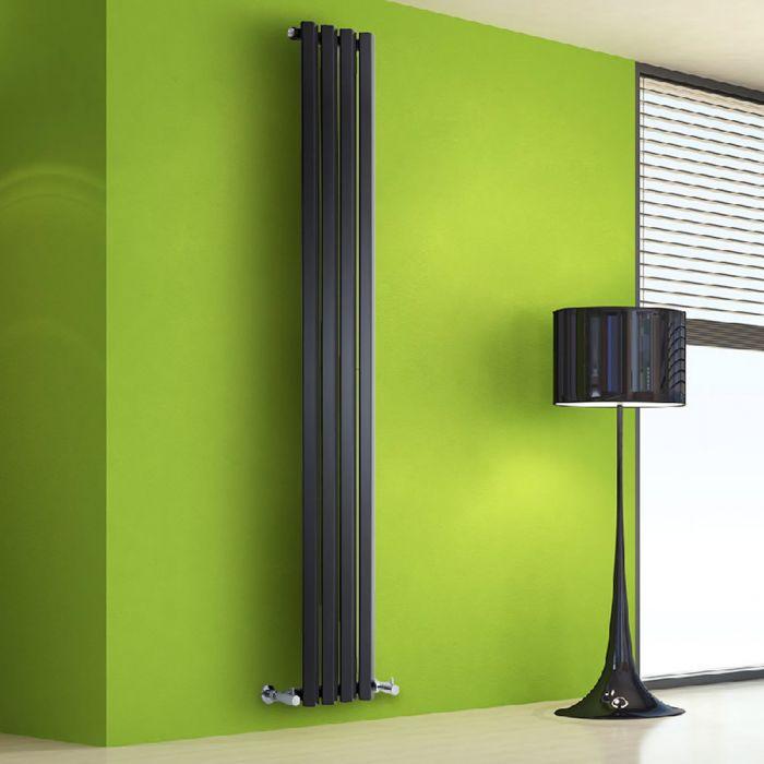 Radiador de Diseño Vertical - Negro Lúcido - 1780mm x 280mm x 60mm - 700 Vatios - Rombo