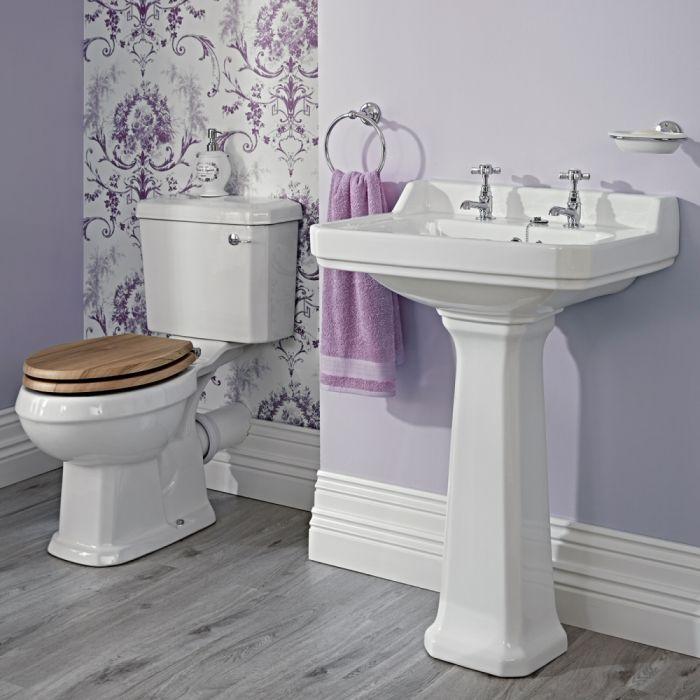 Conjunto de Baño Completo con Inodoro WC con Cisterna y Lavabo Retro de 595mm de 2 Agujeros y Opción de Tapa