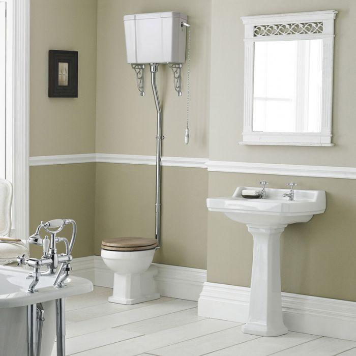 Conjunto de Baño Completo con Inodoro, Cisterna Alta Suspendida y Lavabo de 560mm de Cerámica Blanca Completo con Opción de Distintas Tapas de WC - Retro
