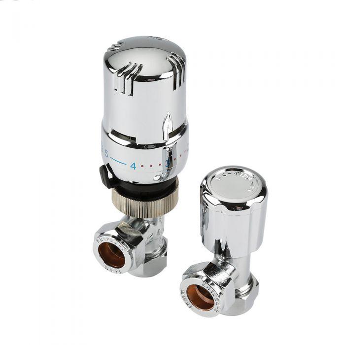 Llaves Angulares Termostáticas Cromadas  para Radiadores y Toalleros con Cabezal Termostático Cromado para Tubos de Cobre de 15mm