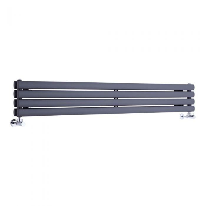 Radiador de Diseño Horizontal Doble - Antracita - 236mm x 1600mm x 78mm - 814 Vatios - Revive