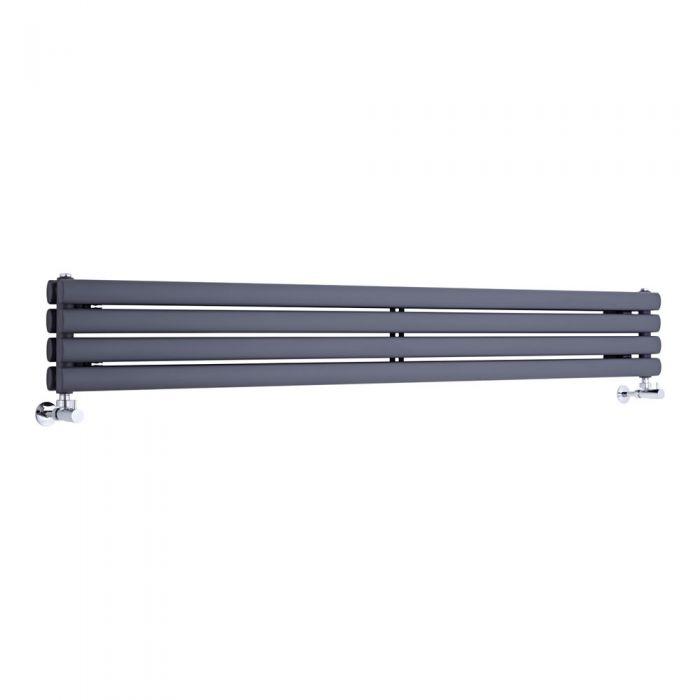 Radiador de Diseño Horizontal Doble - Antracita - 236mm x 1780mm x 78mm - 920 Vatios - Revive