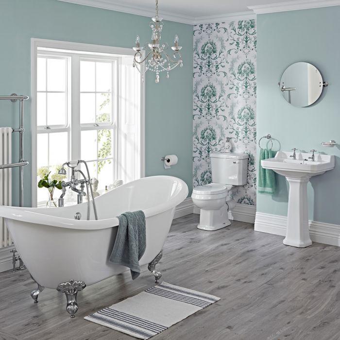 Conjunto de Cuarto de Baño Tradicional Completo con Bañera, Lavabo, WC, Cisterna, Grifería y Tapa del WC -  Carlton