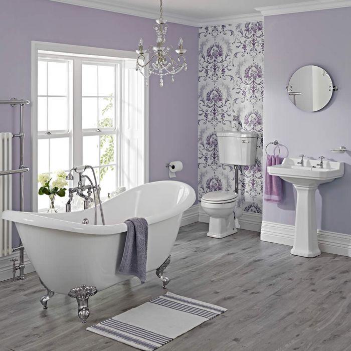 Conjunto de Cuarto de Baño Tradicional Completo Grifería, WC , Cisterna Elevada, Tapa Blanca de WC, Bañera y Lavabo -  Carlton