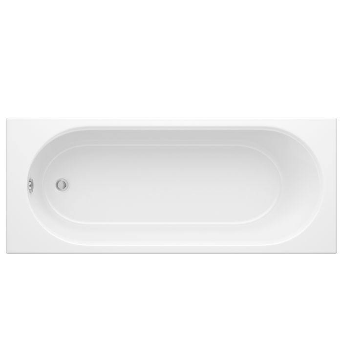 Bañera Rectangular Acrílica con Fondo Oval Estilo Retro de Color Blanco 1700x750mm