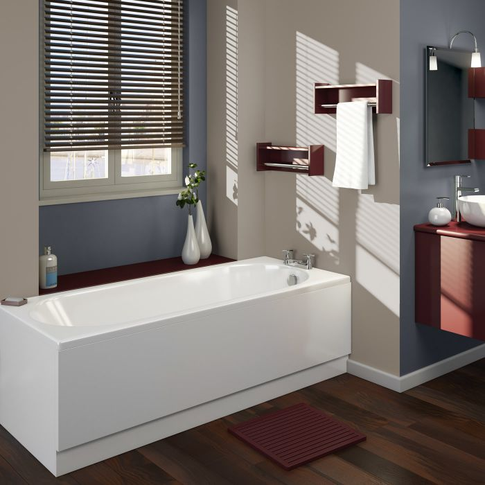 Bañera Rectangular Acrílica Retro Blanca de 1700x700mm con Fondo Oval Completa con Faldones de Bañera
