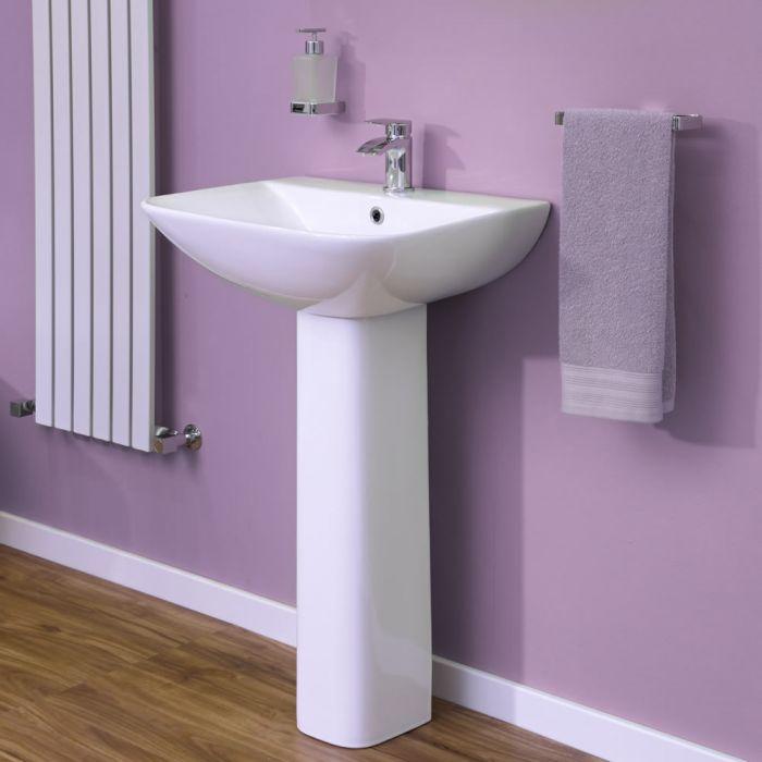 Lavabo con Pedestal en Cerámica Estilo Moderno 550mm