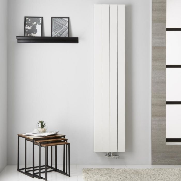 Radiador de Diseño Vertical Doble con conexión Central - Aluminio - Blanco - 1800mm x 375mm x 67mm - 1439 Vatios  - Kett