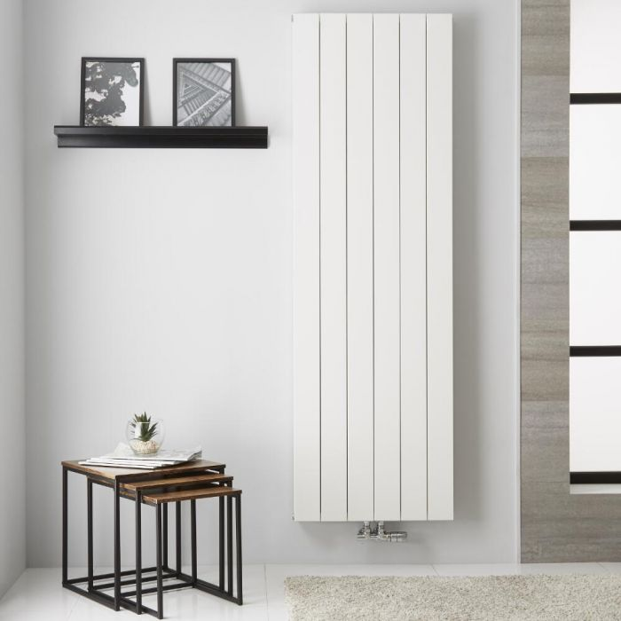 Radiador de Diseño Vertical Doble con conexión Central - Aluminio - Blanco - 1800mm x 565mm x 67mm -  1918 Vatios  - Kett