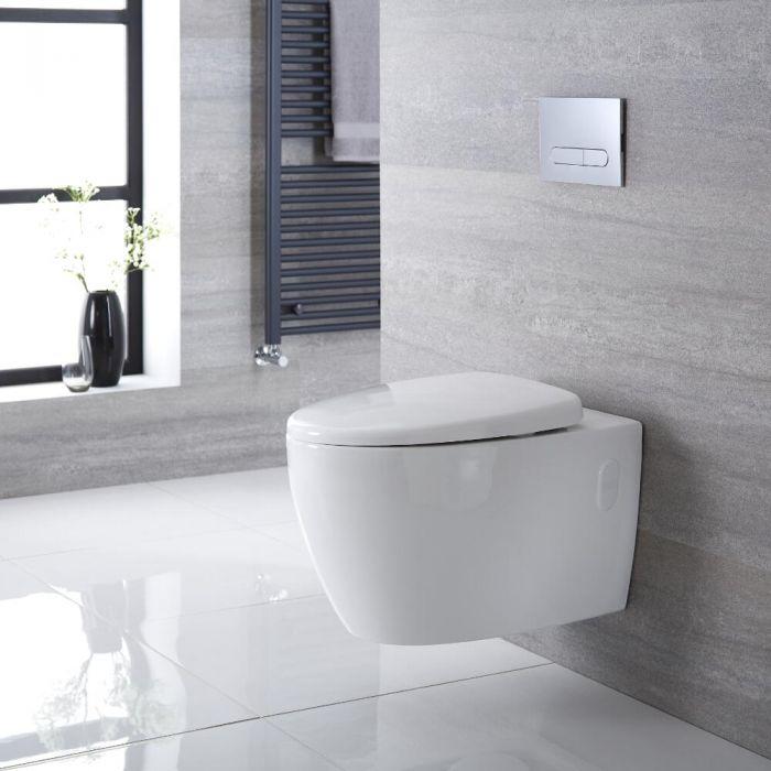 Inodoro WC Oval Moderno Suspendido 360x385x580mm con Tapa de WC con Cierre Amortiguado - Kenton