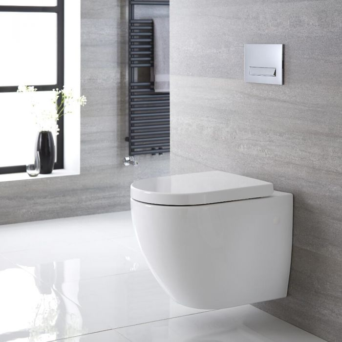 Inodoro WC Oval Suspendido 385x365 x555mm con Tapa de WC Soft Close - Ashbury