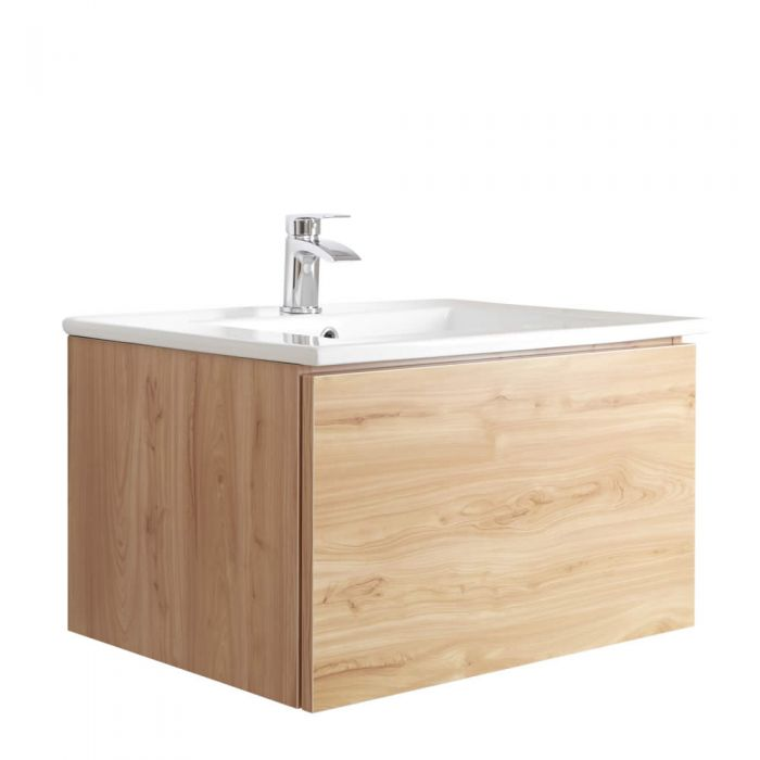 Mueble de Lavabo Mural Moderno de 600mm Color Roble Dorado con Lavabo Integrado para Baño  - Newington